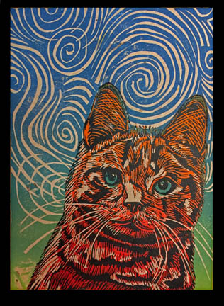 Skinner-Jauneth-©-2018-reverie-orange-tiger-cat-linocut