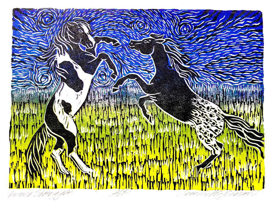 jauneth-skinner-©-2020-power-struggle-fighting-stallions-linocut