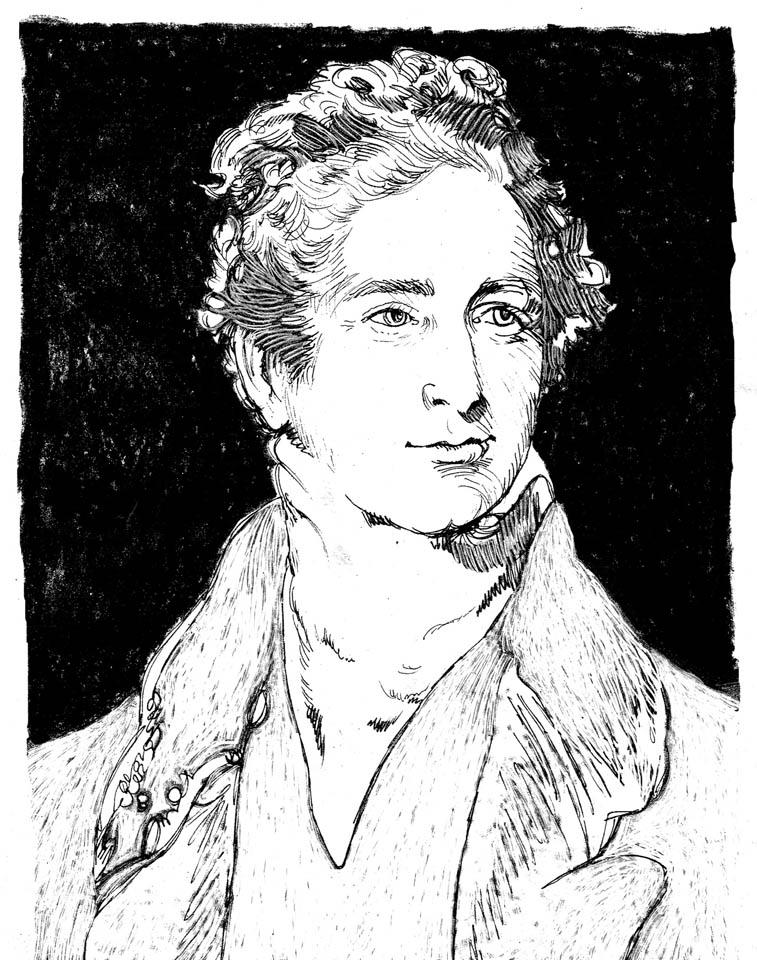 jauneth-skinner-©-Sir-R-Peel-pen-and-ink-portrait-illustration