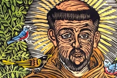 jauneth-skinner-©-st-francis-of-assisi-hand-colored-linocut-saints-detail